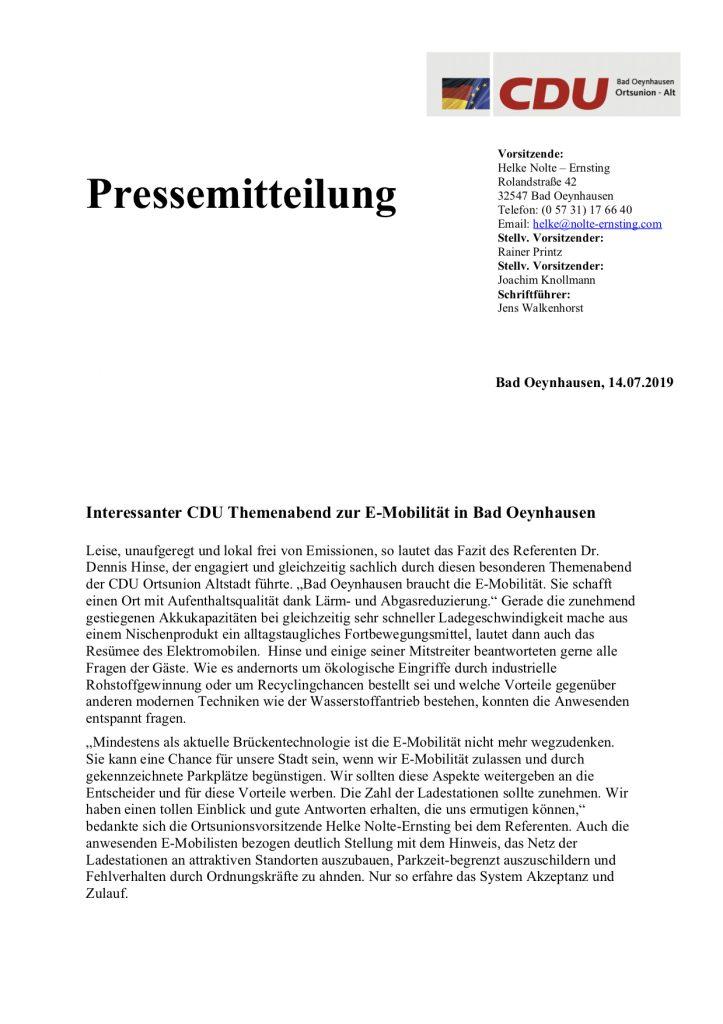 Pressemitteilung zum Themenabend am 11.07.19 – CDU Bad