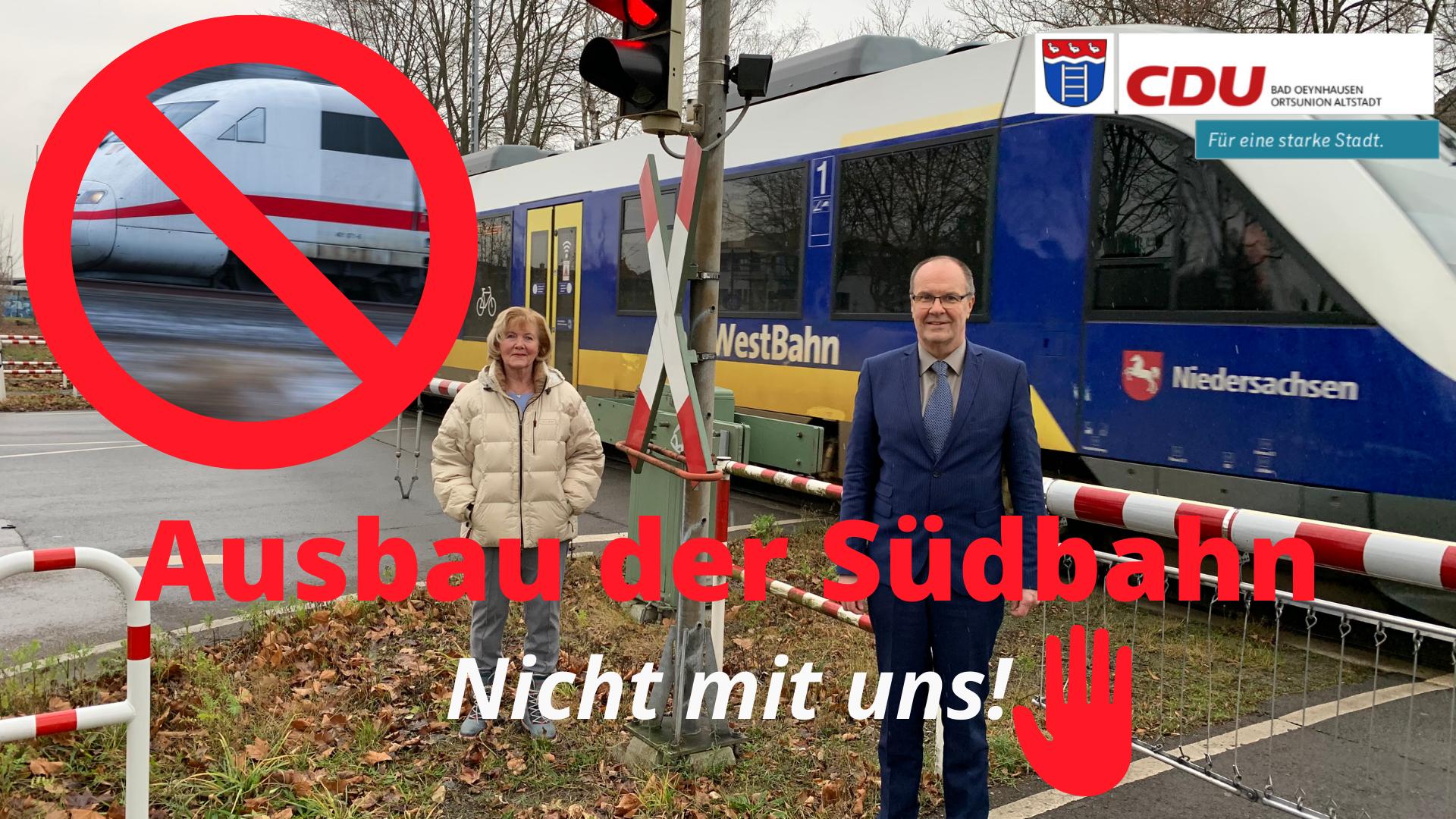 """Ortsunion blickt mit Sorge auf Südbahnlinie ICE-Überlegungen sind """"keine Option"""""""