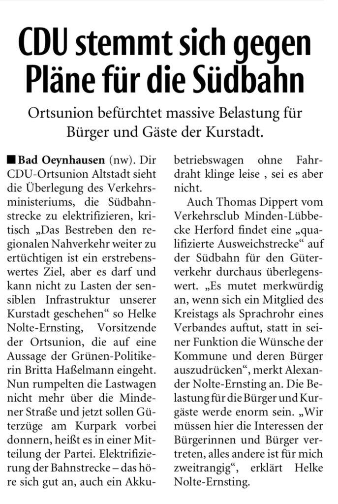 CDU stemmt sich gegen Pläne für die Südbahn